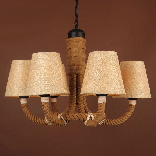 antique hemp rope and fabric shades chandelier 9509 browse project lighting and modern. Black Bedroom Furniture Sets. Home Design Ideas