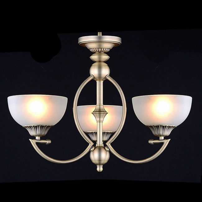 Antique Copper And Glass Shades Chandelier In Bronze