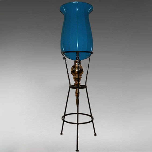 Modern Iron And Blown Glass Shade Floor Lamp 10793