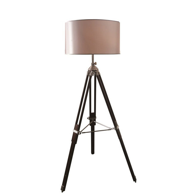 post modern tripod wood and fabric shade floor lamp