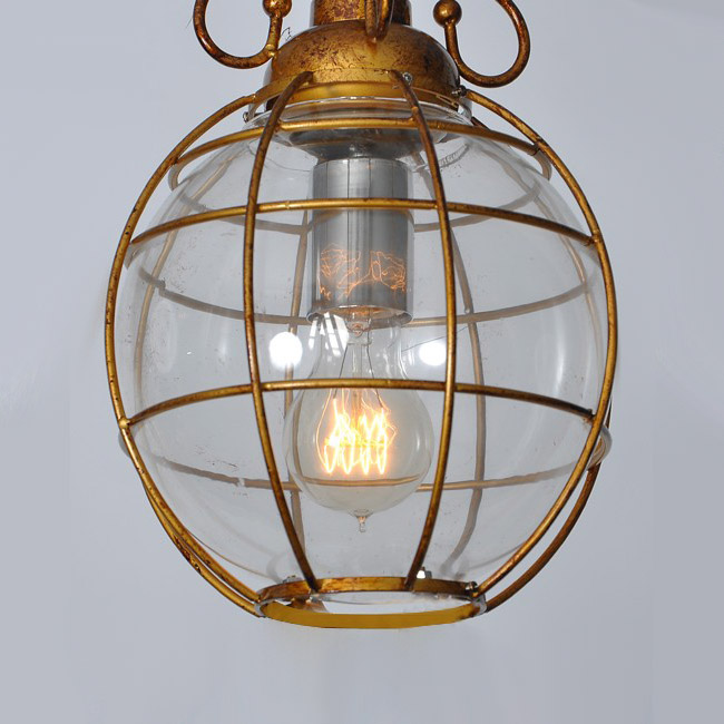 Antique Long Arm Glass And Metal Pendant Lighting 9120