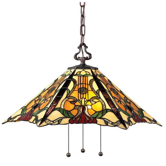 Antique Tiffany Glass And Metal Pendant Lighting 9351