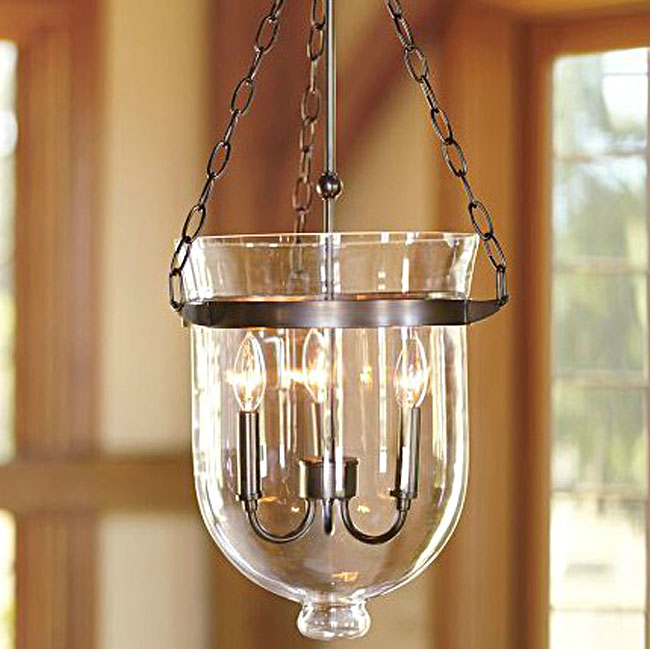 Antique country clear glass 3 lights iron pendant lighting for Country lighting fixtures for home