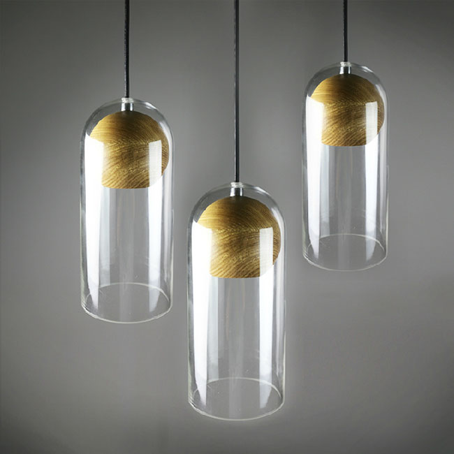 LOFT Glass Shade And Wood Ball Pendant Lighting 10817