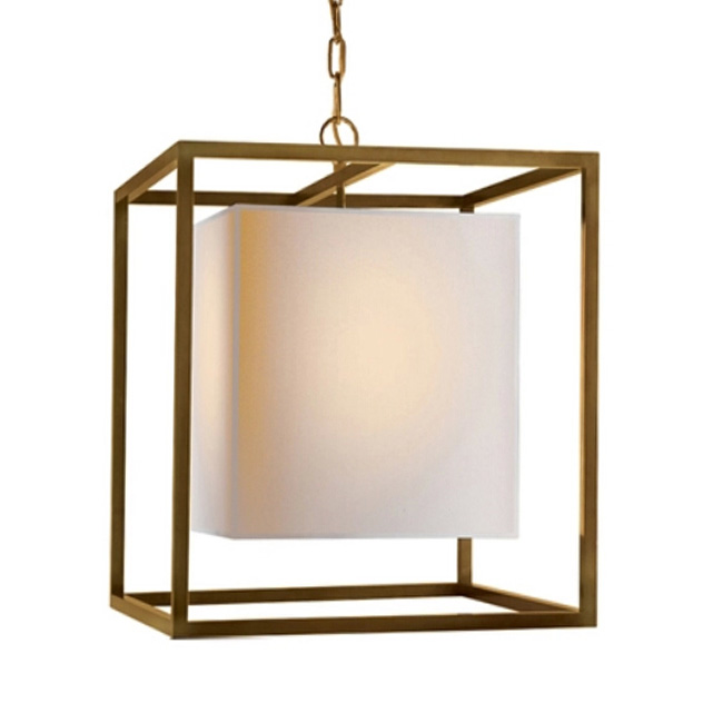 Country Antique Copper And Flax Shade Pendant Lighting