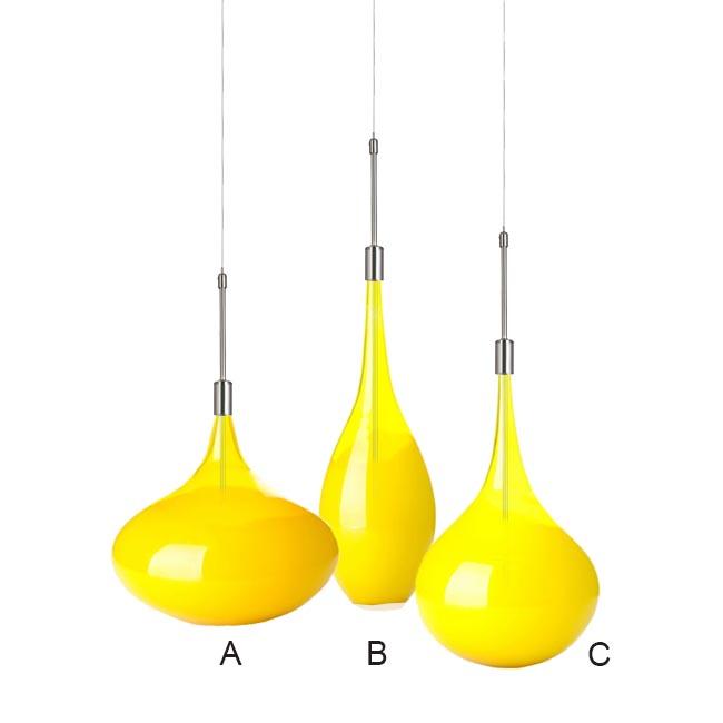 Modern Yellow Blown Glass Shade Pendant Lighting 11871