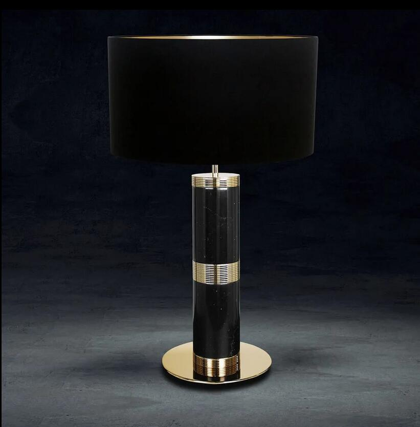 Black Marquina Marble Table Lamp 19020